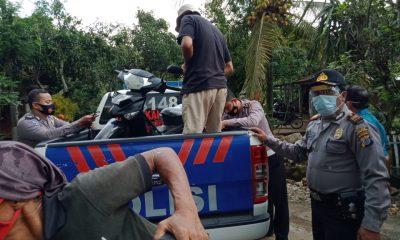Kapolsek tepus, AKP Mursidiyanto bersama anggota piket saat berada di lokasi kejadian